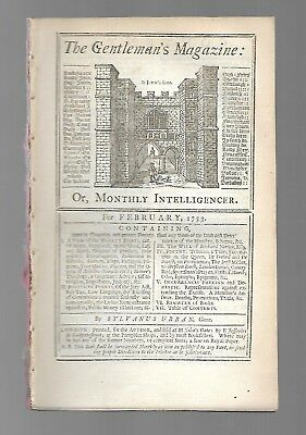 """VERY EARLY 1733 issue of  """"THE GENTLEMAN'S MAGAZINE""""  February, 1733"""