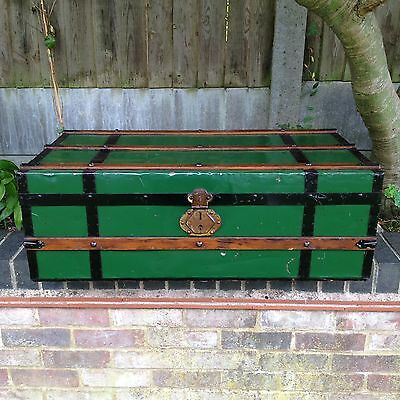 Vintage Tin Trunk Old Travel Chest Wood Painted Antique Coffee Table Storage
