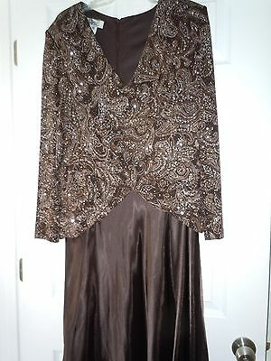Patra Women's Long Sleeve Brown  Sequin Top  V-Neck Chiffon Formal MOB Dress 18