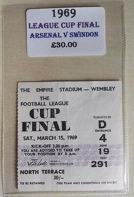 1969 LEAGUE CUP FINAL MATCH TICKET WEMBLEY STADIUM   ARSENAL vs. SWINDON (NORTH)