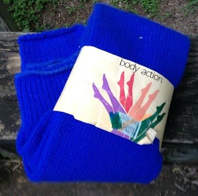 NEW Vtg 80s Leg Warmers Legwarmers Body Action Electric Blue Aerobics Dance NOS
