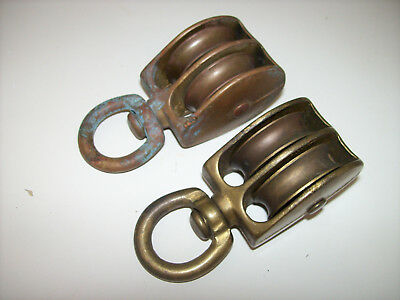 Vintage BRONZE BRASS DOUBLE BLOCK PULLY *PAIR* - Sailboat SWIVEL Block 3-1/2""