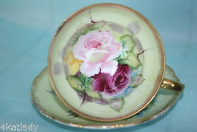 Vintage Shafford Japan cup & saucer set - Pink, Purple, Yellow Roses on beige