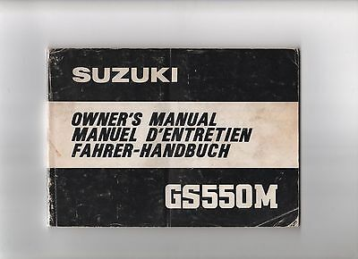 Suzuki Gs550M Factory Owners Manual
