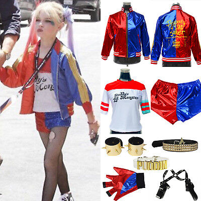 Kids Girls Harley Quinn Suicide Squad Tops Coat Shorts Halloween COS Costume Lot