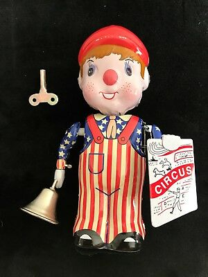 News Boy Circus Announcement Wind-Up Tin Litho With Bell