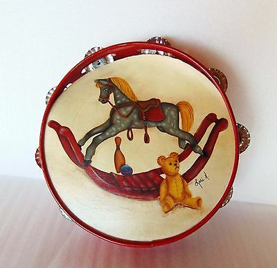 Child Kids Metal / Tin Tambourine With Horse & Teddy Bear 8""