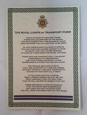 Royal Corps of Transport Poem British Army Regiment Squadron Company Troggs RCT