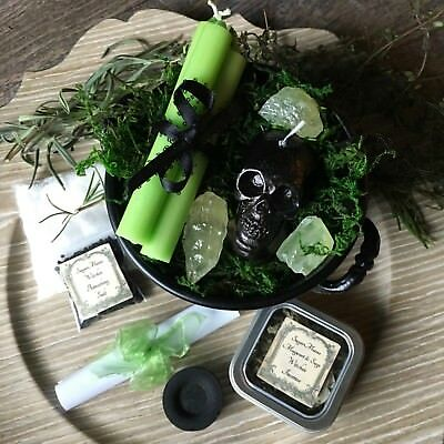 Witches Gift Set Black Cauldron Magick Skull Candles Incense Wicca Supplies