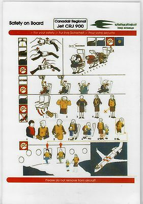 Safety Card IRAQI AIRWAYS CRJ900 *EXTREMELY RARE* Original Canadair Iraq Irak
