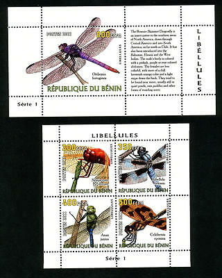 Benin 2 Sheets Dragonflies Dragonfly Libellules Insects Serie 1