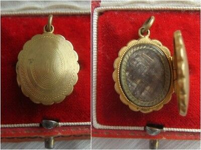 Early Victorian Rolled Gold Filled Fob Locket Pendant containing Mourning Hair