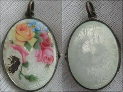 Antique 800 Solid Silver Guilloche Enamel Locket with Roses & Forget Me Nots