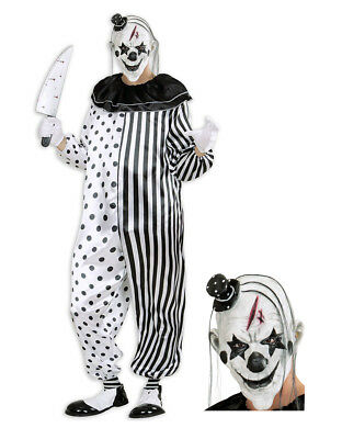 Mens Deluxe Killer Clown Fancy Dress Costume Horror Evil Clown Circus Costume