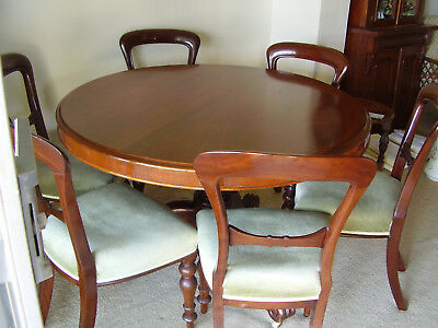 Antique Victorian CEDAR Round TABLE plus 6 Victorian Mahogany Upholstered Chairs