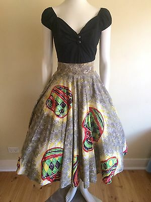 Original Vintage 50s Mexican Full Skirt , Atomic Print , Pinup , Rockabilly