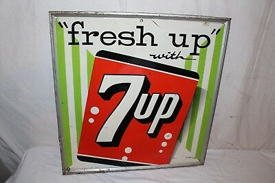 "Vintage 1960 7Up 7 Up ""Fresh Up"" Soda Pop Gas Station 27"" Embossed Metal Sign"