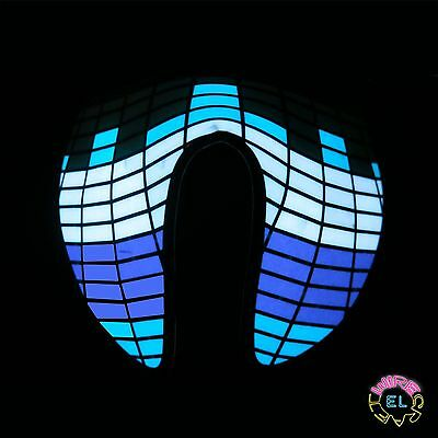 Glowing Blue, Purple & White Equalizer Mask - festival - Sound Activated Driver