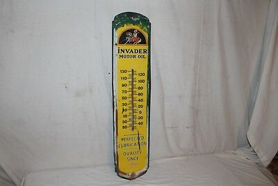 "Vintage 1960's Invader Motor Oil Gas Station 36"" Metal Thermometer Sign~Works"