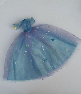 RARE Cinderella Live Action Barbie Doll Gown Dress Blue Lily James Disney Film
