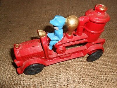 "Cast Iron Fire Truck Toy, Vintage Repro, 6-3/4"" Long"