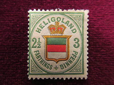 "1877Heligoland 2&1/2 farthings/3 pf stamp,MH thin # 20a,""Coat of Arms""CV $175.00"