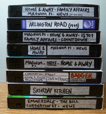 8 x Used VHS Video Blank / Re-Recordable Tapes / Cassettes E180/E240
