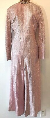 Vintage 1960s 1970s Pink Glitter Bell Bottom Palazzo Jumpsuit size S or M P11