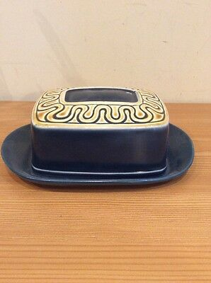 Vintage Retro Sylvac Butter Dish Blue Pattern 4506 Impressed Mark And Sticker