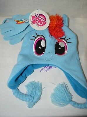 MY LITTLE PONY *Rainbow Dash**Face*  2pc Blue Knit Hat Cap Gloves Set  4+ ~NWT