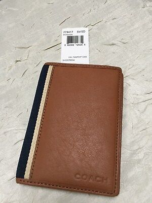 NWT Coach RARE HWL Heritage Web leather passport holder case Saddle #74417