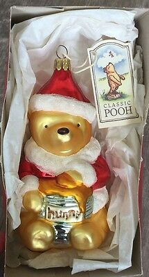 1997 Disney Midwest Winnie The Pooh Hand Blown Christmas Hunny Ornament Box/Tag