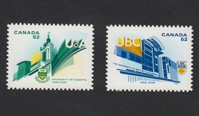 ma. UNIVERSITIES UofA and UBC Die Cut to Shape Pair Canada 2008 #2263i-64i MNH
