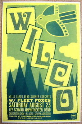 WILCO & FLEET FOXES 2008 Gig POSTER Bend Oregon Concert