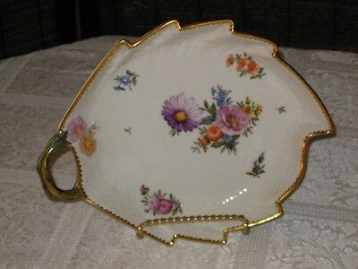 Vintage ROYAL COPENHAGEN Saxon Flower # 1221 - LEAF DISH # 1599 Mint Condition