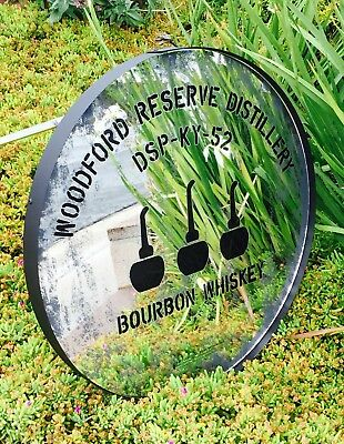 """Woodford Reserve Whiskey Beer Bar Round Mirror Man Cave Pub """"New"""""""