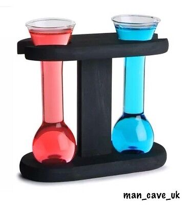 Set of 2 Yard of Ale Shot Glasses and Stand - Novelty Gift - Home Bar - Man Cave