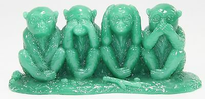 Feng Shui Green See No Evil, Hear No Evil, Speak No Evil Monkey Statue Figurine