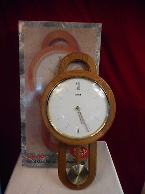 "Salton 21"" Solid Oak Pendulum Quartz Wall Clock In Box - Working & Very Nice!"