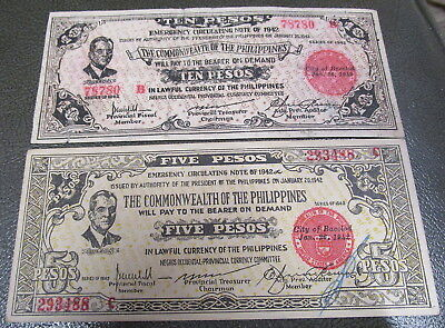 1942 Bacolod Philippines Commonwealth Emergency Currency 5 & 10 Peso bills