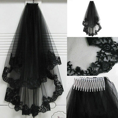 New 2T Black Lace Edge With Comb Elbow Bridal Wedding Cathedral Mantilla Veil