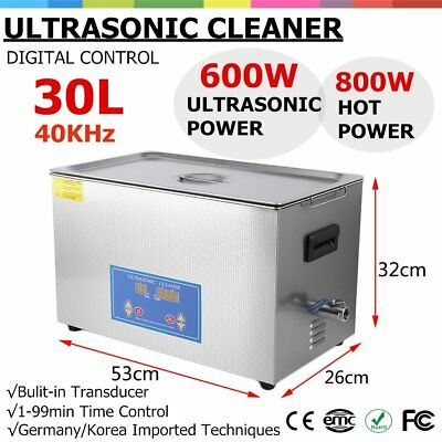 New Stainless Steel 30L Liter Industry Heated Ultrasonic Cleaner Heater Timer GO
