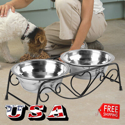 Stainless Steel Cat Dog Double Puppy Pet Water Food Feeder Dish Bowls Stand US