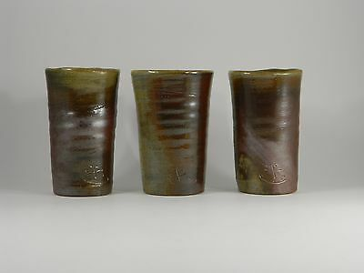 Studio Art  Pottery Bizen Ware (?) Beer Tea Cups Signed (Lot Of Three)