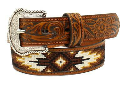 Nocona Western Boys Belt Kids Belt Tribal Stitched Embossed Brown N4438408