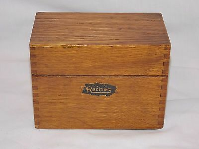 """Oak Recipe File Card Box w Brass Hinges for 3"""" x 5"""" Cards Vintage Circa 1950"""