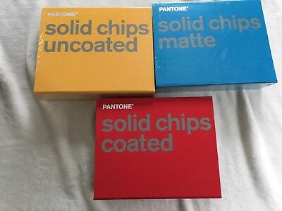 Pantone Solid Chips 3 Book Set Coated Uncoated Matte New 2004 Complete