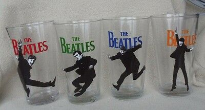 The Beatles Set of 4 Collectible Drinking Glasses Licensed Product Apple Corps.