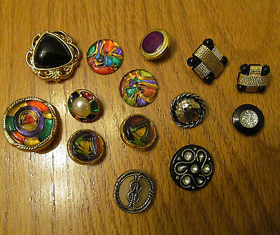 Crafter's Small Mixed Lot of Vintage Buttons Various 15 pcs