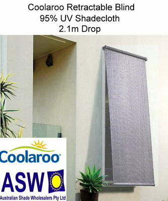 1.5m wide Coolaroo RETRACTABLE BLIND 2.1m drop CHARCOAL 95% UV B-CR150CH